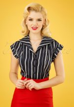 20s Deckchair Stripes Blouse in Navy and White