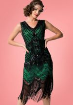20s Veronique Fringe Flapper Dress in Metallic Green
