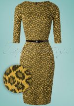 50s Therrie Leopard Pencil Dress in Mustard Yellow