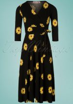 967a7cd381708e 50s Janice Sunflower Swing Dress in Black and Yellow