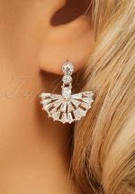 20s Evelyn Mini Crystal Fan Drop Earrings in Silver