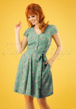 40s Cathleen Freesia Tea Dress in Mint Green
