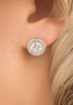 30s Elisabeth Crystal Round Stone Earrings in Silver