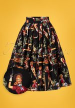 50s Cowgirl Pleated Swing Skirt in Black