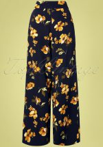 40s Emila Floral Palazzo Pants in Navy