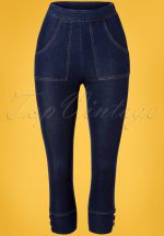 50s Hailey Denim Capri Pants in Blue