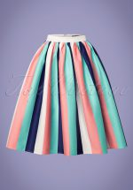 50s Jasmine Seaside Stripes Swing Skirt in Multi