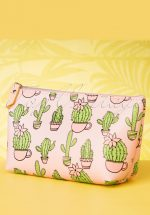 60s Cacti Party Make Up Pouch in Pink