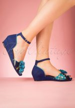 60s Phyllis Wedges in Blue