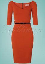 50s Neila Pencil Dress in Cinnamon