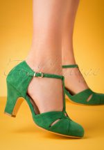 20s Hepworth Suede T-Strap Pumps in Green