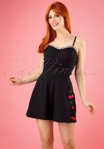 50s Ariel Cherry and Blossom Playsuit in Black