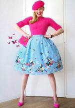 50s Cotton Tail Swing Skirt in Blue