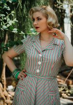 40s Mimi Stripes Revers Dress in Multi