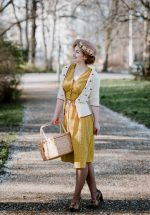 40s Chantal Mini Fleur Tea Dress in Yellow