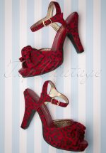 50s Angie Cheer Leoapard Sandals in Red