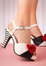 50s Angie Tribute Sandals in White and Black