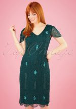20s Downton Abbey Flapper Dress in Teal