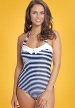 50s Maritim Collar Stripes Swimsuit in Navy and White