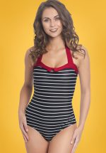 50s Holiday Collar Stripes Swimsuit in Black and Red