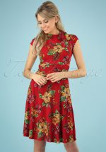 50s Audrey Tiki Floral Bombshell Dress in Red