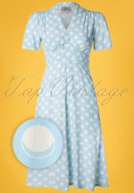 40s Dolores Moonshine Spot Dress in Sky Blue