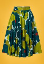 50s Danni Swing Skirt in Green Floral
