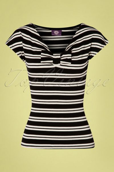 50s Lacey Stripes Top in Black and Cream