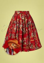50s Cowgirl Pleated Swing Skirt in Red