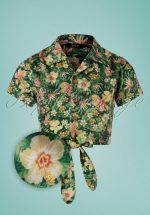 50s Rockabilly Tropical Blouse in Green