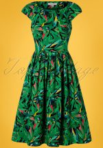 50s Claudia Hothouse Palms Swing Dress in Multi