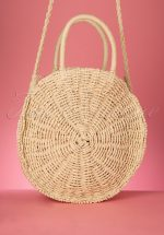 50s Frederique Round Woven Bag in Natural