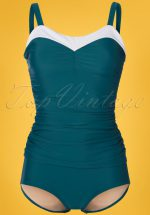 50s Regina One Piece Swimsuit in Teal Green