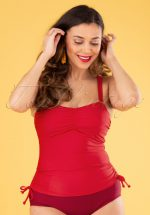 50s Elizabeth Tankini Top in Lipstick Red