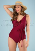 50s Grace One Piece Swimsuit in Burgundy