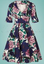 50s Delores Blooming Floral Swing Dress in White and Blue