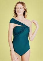 50s Greta Bow One Piece Swimsuit in Teal Green