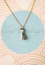 60s Mini Cat Necklace in Grey and Gold