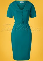 50s Ariel Pencil Dress in Teal Blue