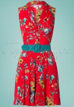 50s Faline Rose Playsuit in Red