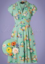 30s Ava Love Story Tea Dress in Green