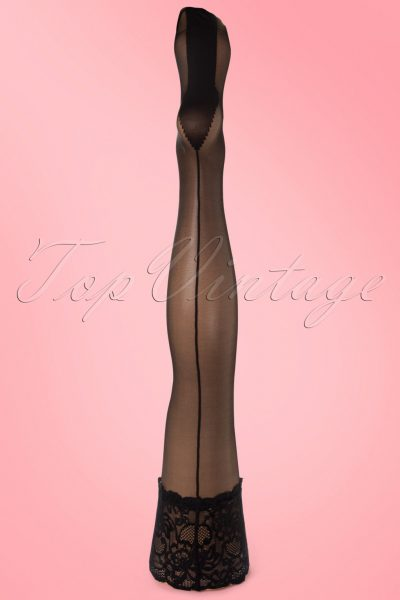 40s Salzburg seamed Black lace hold up stockings