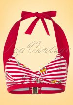 50s Roxie Popcorn Bikini Top in Red