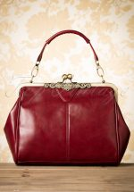 20s Vintage Frame Kisslock Clasp Bag in Burgundy