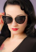 50s Dita Cat Eye Sunglasses in Black and Gold