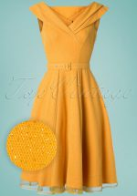 50s Belle Glittery Swing Dress in Sun Yellow