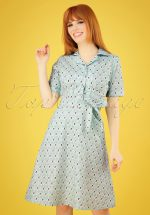 40s Kim Rose Dress in Mint Green