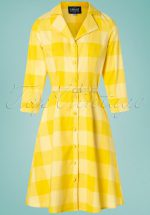 60s Margherita Sun Check Dress in Yellow