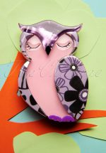 60s Olive Owl Brooch in Lilac