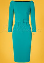 50s Brittany Off The Shoulder Dress in Turquoise